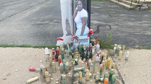 A makeshift memorial for Genuine Ridgeway, a 31-year-old mother of two, killed just steps from the First Church of God on Clarissa Street in June.