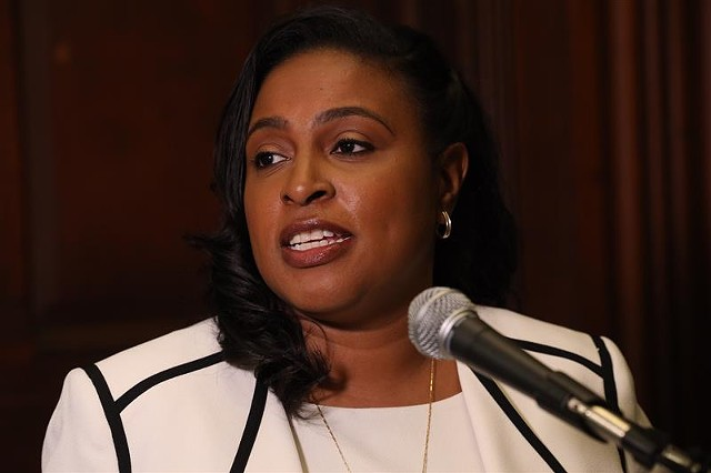 Mayor Lovely Warren addresses reporters at City Hall following the criminal charges brought against her husband. May 20, 2021.