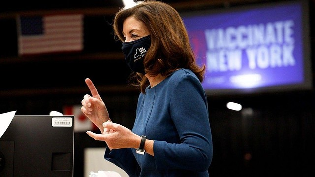 Lt. Governor Kathy Hochul speaks at the January 2021 opening of the state-run COVID-19 vaccination site at the Dome Arena.