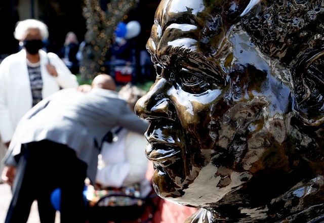 A bust of William Warfield created by artist Shawn Dunwoody was unveiled Sept. 27, 2021, at the Miller Center Courtyard across from the Eastman School of Music.