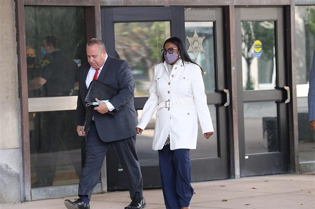Mayor Lovely Warren and her lawyer, Joseph Damelio, enter the courthouse for her arraignment on felony charges related to alleged campaign finance violations on Oct. 5, 2020.
