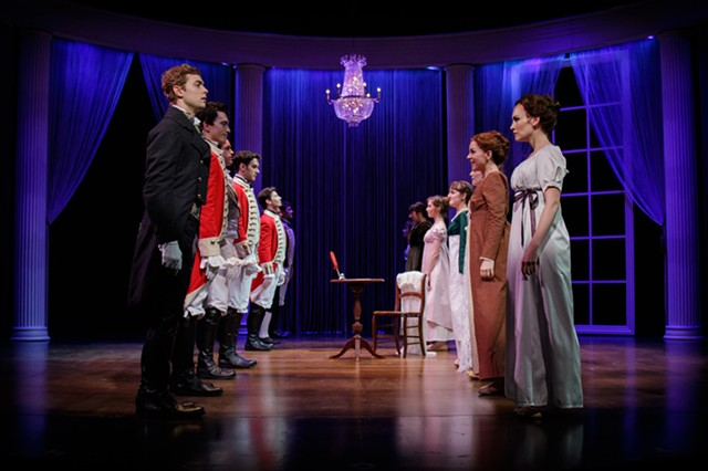 Mr. Darcy (Gregory Mahue) and Elizabeth Bennet (Heather Botts) share a tense dance together in the Finger Lakes Musical Theatre Festival's production of AUSTEN'S PRIDE running July 13th – 24th at the Callahan Theater at Nazareth College Arts Center.