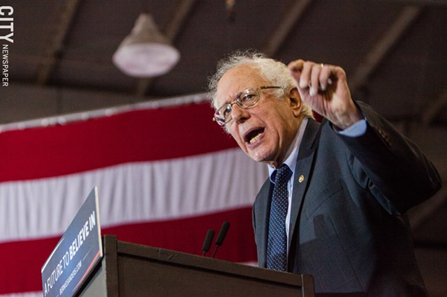 Former Democratic presidential candidate Bernie Sanders during a rally at the Bill  Gray's Regional Iceplex.