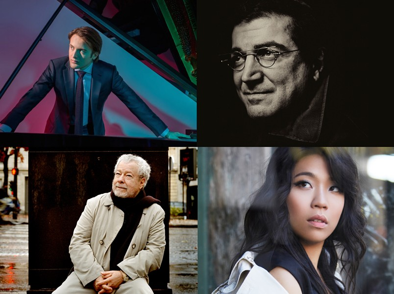 The 2019-20 Eastman Piano Series features (clockwise from  top left)  Daniil Trifonov and Sergei Babayan on October 2, Joyce Yang on  March 20, and Nelson Freire on April 7. - CLOCKWISE FROM TOP LEFT: PHOTOS BY DARIO ACOSTA; MARCO BORGGREVE AND  KAUPO KIKKAS; AND KT KIM
