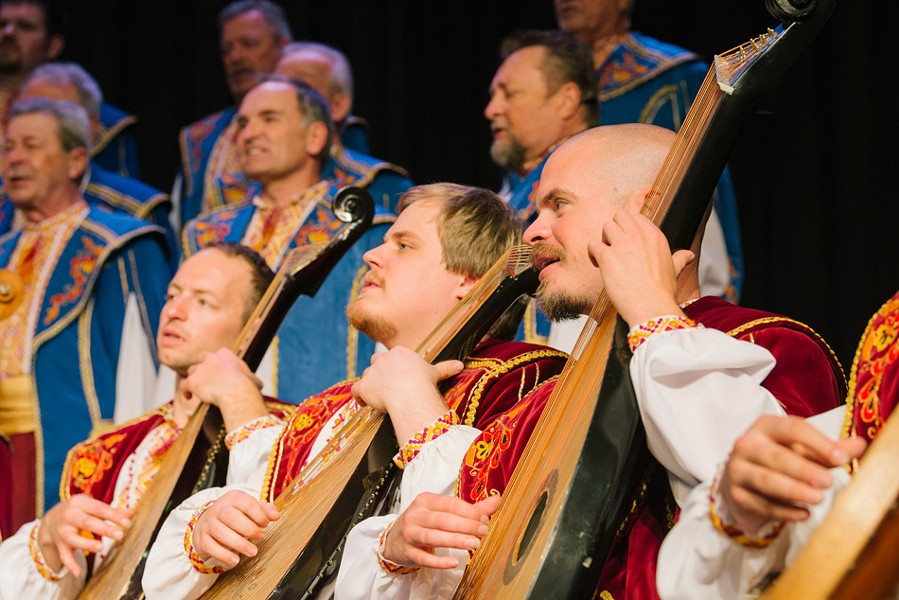 The Ukrainian Bandurist Chorus uses the bandura, an acoustic instrument with up to sixty strings, to anchor a rich melding of male choral voices in the Ukrainian folk tradition. - PHOTO BY  ANDREW ZWARYCH