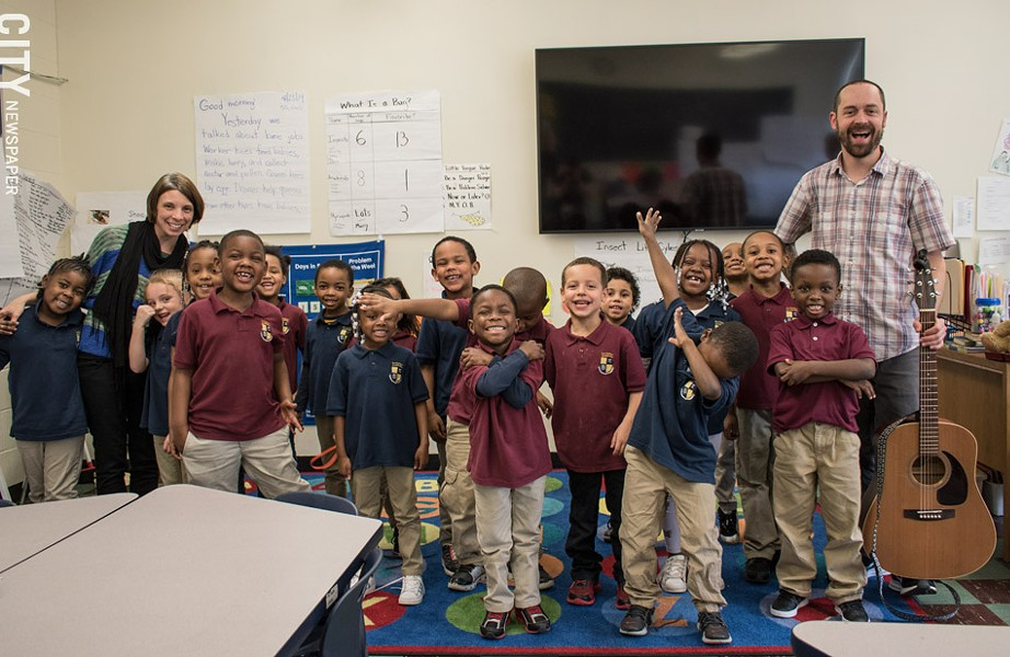 """Jesse Sprinkle (far right), who teaches music at Rochester Academy Charter School, has just released a recording project with his kindergarten and first grade students, entitled """"The Springtime EP."""" - PHOTO BY JACOB WALSH"""