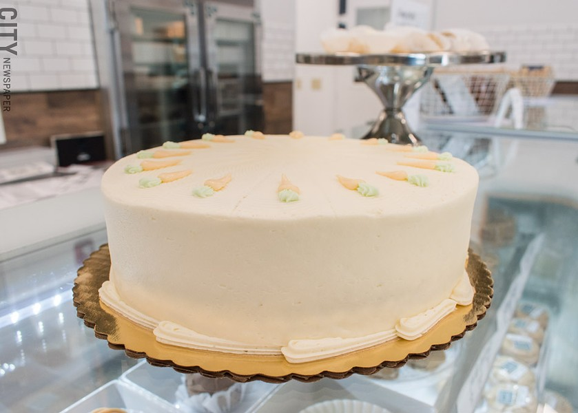 Cheesy Eddie's classic carrot cake in their new second location. - PHOTO BY RENÉE HEININGER