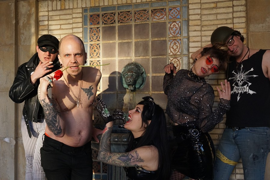 Rochester Goth band Phantasmagoria (left to right: Jeremiah Richards, Nyk Radar, Fayebriel Barrette, Maurene Vanderwall, and Chris Theisen) makes music that's as sinister as it is fun. - PHOTO BY CHLOE KUNES