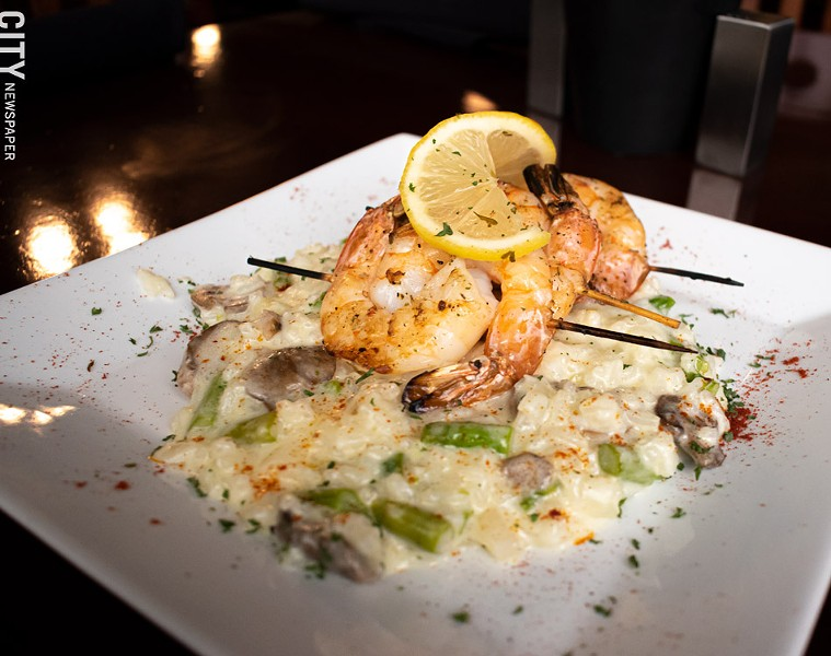 The Allandale includes grilled shrimp, seasonal veggies, Parmesan, and risotto. - PHOTO BY JACOB WALSH