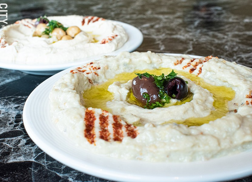 On the mezze (small plate) menu is the Middle Eastern classic baba ganoush: roasted eggplant and yogurt blended into a creamy dip with olive oil. - PHOTO BY JACOB WALSH