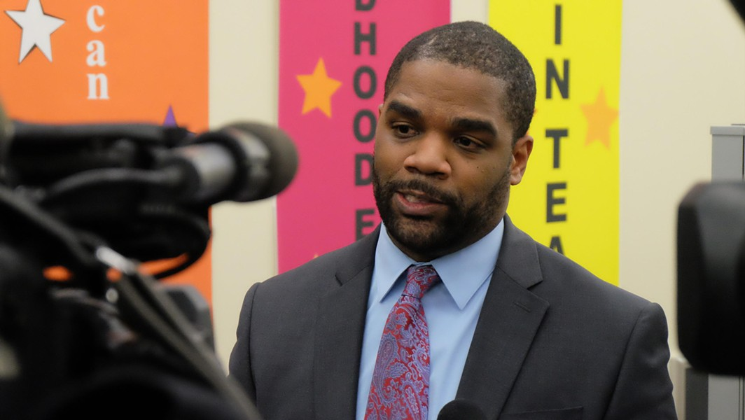 RCSD Superintendent Terry Dade minutes after announcing the reduction of upcoming staffing cuts. - PHOTO BY JAMES BROWN, WXXI NEWS
