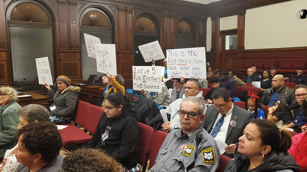 Housing activists turned out for Tuesday night's City Council meeting to support a rental vacancy study, which is necessary to opt into state rent stabilization laws. - PHOTO BY GINO FANELLI