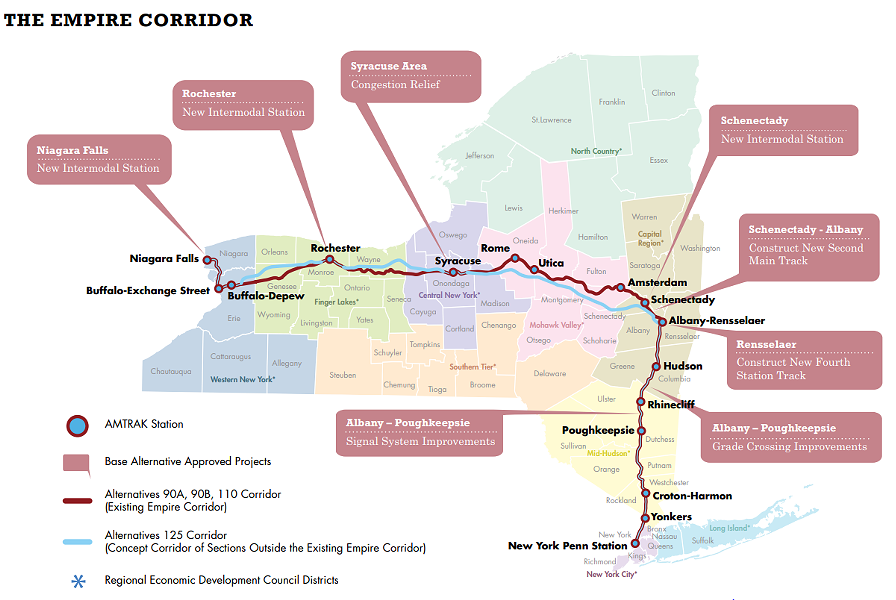The so-called Empire Corridor contains 463 miles of track from Niagara Falls to New York City. - IMAGE PROVIDED BY NYSDOT