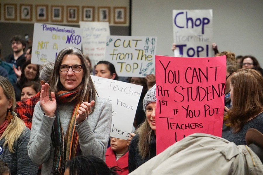 The Rochester School Board heard from 37 teachers, staff, and parents, all of whom spoke against proposed layoffs, during its meeting last Thursday. - PHOTO BY GINO FANELLI