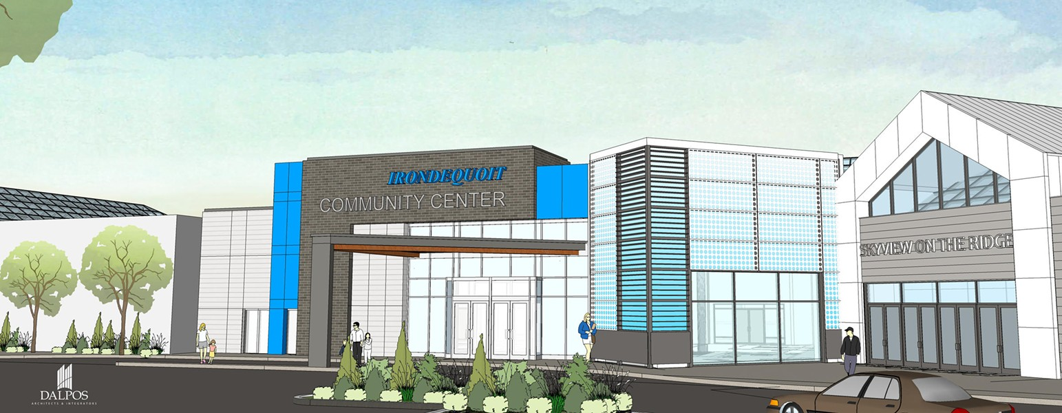 rendering of the proposed Irondequoit Community Center. - IMAGE PROVIDED BY THE TOWN OF IRONDEQUOIT