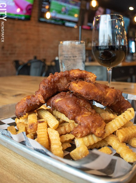 Beer-battered chicken tenders and fries. - PHOTO BY JACOB WALSH