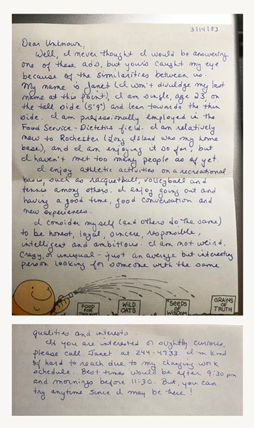 Janet Brzowsky's reply to Box 1088. - PHOTO PROVIDED