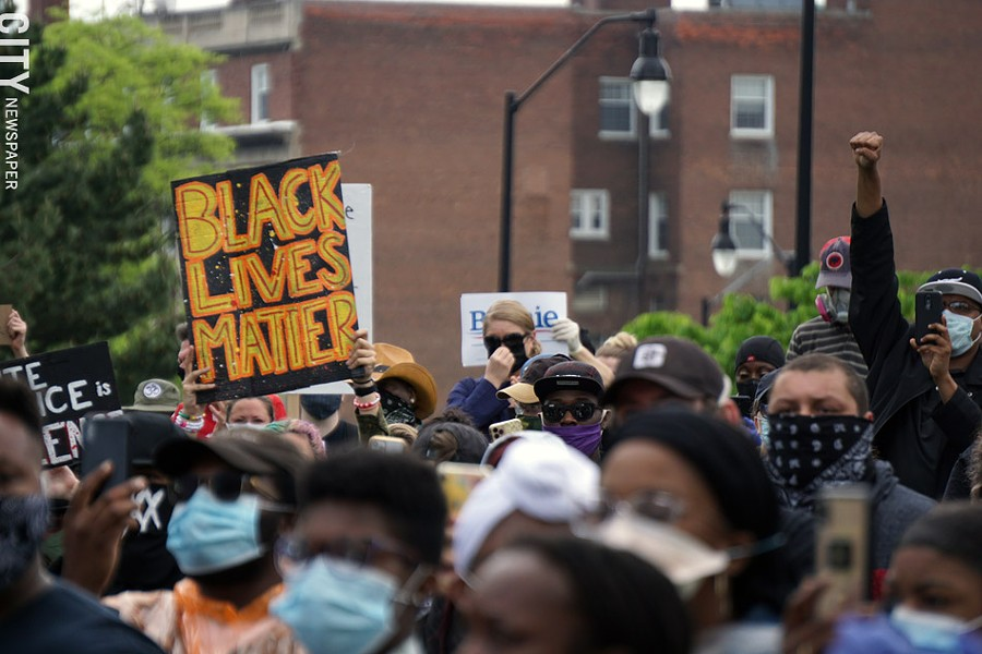 Protesters at Black Lives Matter rally on Saturday, May 30. - PHOTO BY GINO FANELLI