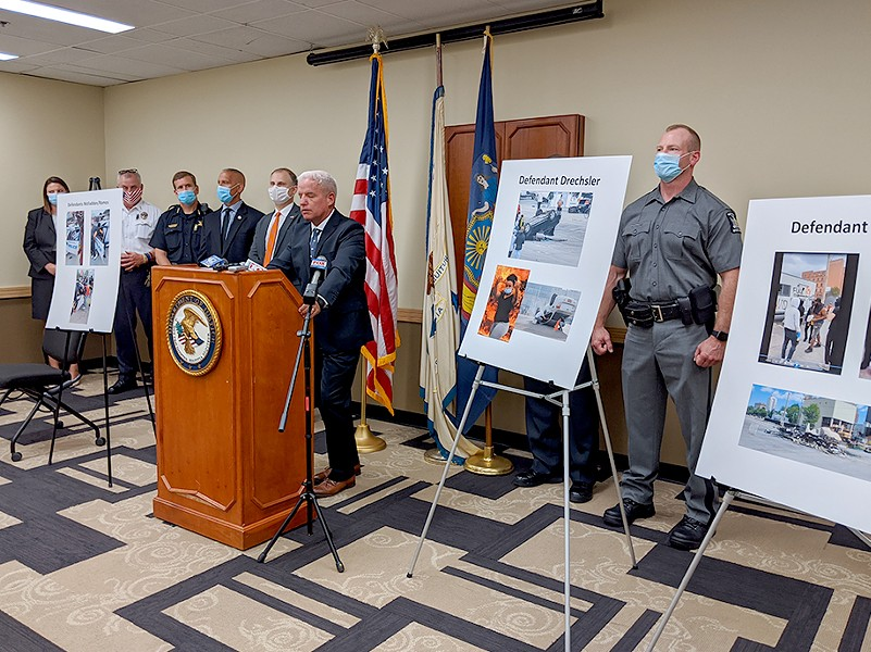 James Kennedy, U.S. Attorney for the Western District of New York, announced today that four Rochester-area residents, previously facing state charges for allegedly destroying vehicles, now face federal arson charges. - PHOTO BY JEREMY MOULE