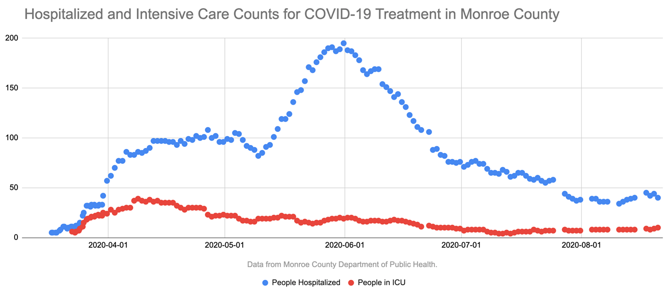 The number of people in intensive care units for COVID-19 treatment in Monroe County has increased recently, but it's still well below the peak earlier this year. - CREDIT BRETT DAHLBERG / WXXI NEWS