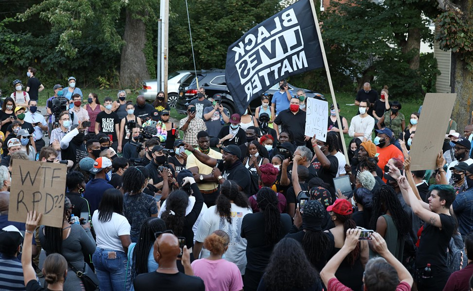 Black Lives Matter, clergy and politicians clashed on Thursday, Sept. 3, 2020, as protests over the death of Daniel Prude  continued. - PHOTO BY MAX SCHULTE