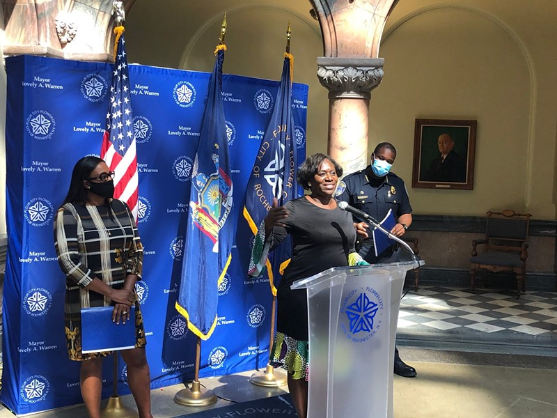 The Rev. Myra Brown of Spiritus Christi Church speaks alongside Mayor Lovely Warren and Chief La'Ron Singletary during a news conference on Sunday, Sept. 6, 2020. - PHOTO BY RANDY GORBMAN, WXXI NEWS