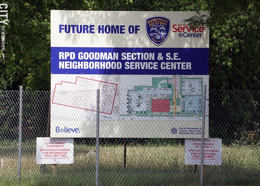 A sign marking what was to be the future location of a new police station on East Main Street. - PHOTO BY GINO FANELLI