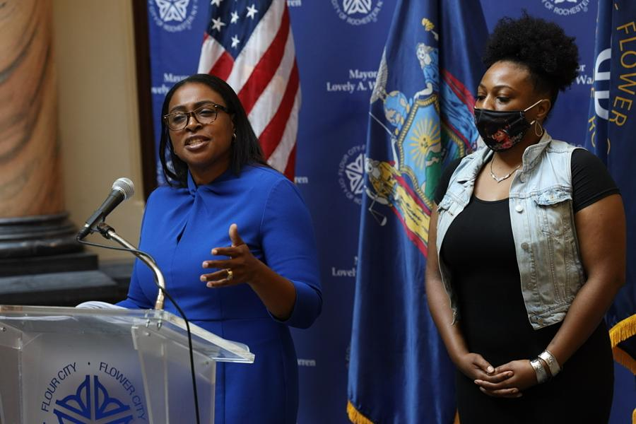 Mayor Lovely Warren addressing media on Sept. 3, 2020. She faces criminal charges for alleged campaign finance violations and could use her campaign funds to pay for her defense. - PHOTO BY MAX SCHULTE