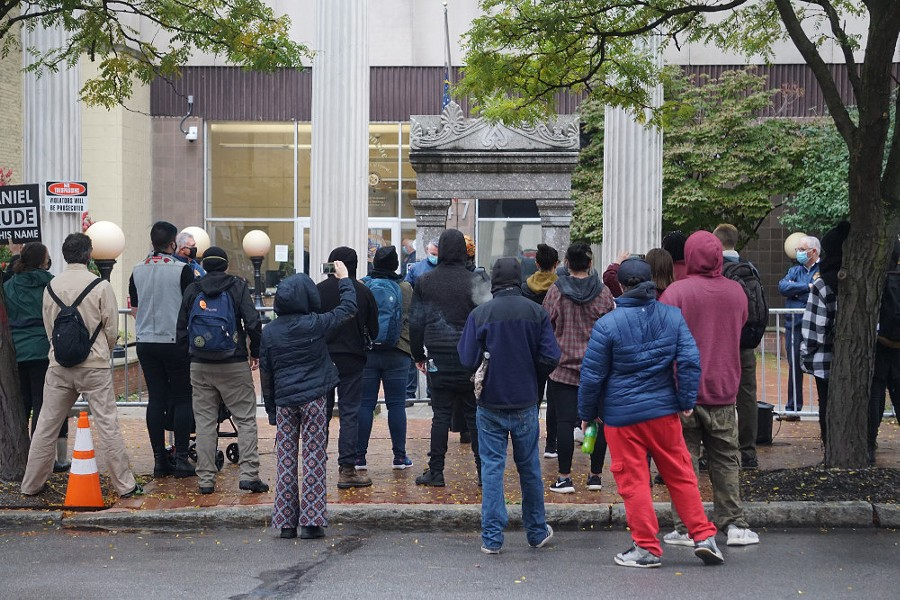 On Thursday, protesters marched from City Hall to the Monroe County District Attorney's Office. - PHOTO BY GINO FANELLI