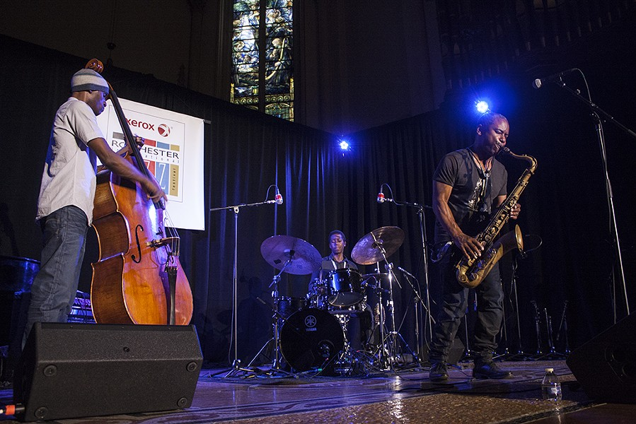 Saxophonist Denys Baptiste and his group Triumvirate performed in Christ Church on Friday, June 26. - PHOTO BY ASHLEIGH DESKINS