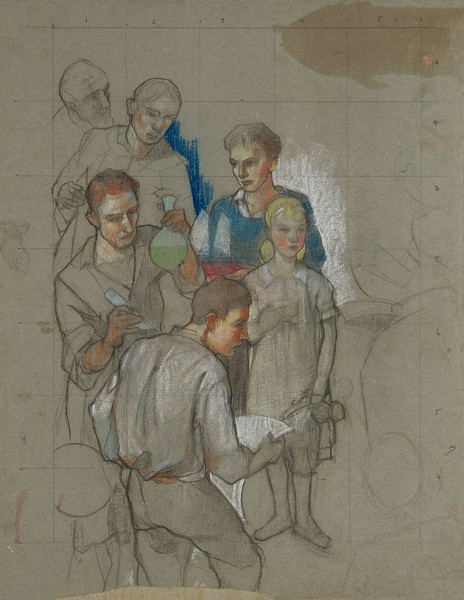 "This study for the ""Contemplative Life"" mural is part of the ""Art for the People: Carl W. Peters and the Rochester WPA Murals"" exhibit, currently on view at the Memorial Art Gallery. - PHOTO PROVIDED"