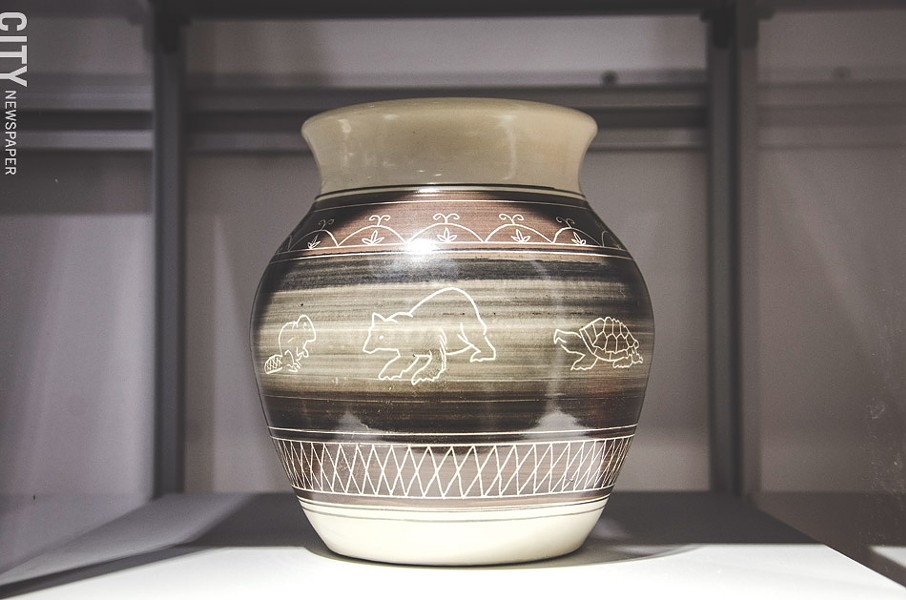 An example of contemporary Seneca pottery found in the SACC gift shop. - PHOTO BY MARK CHAMBERLIN