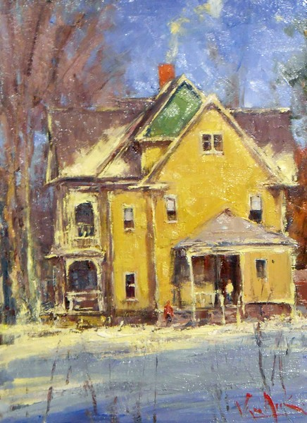 """The Yellow House in Snow"" by George Van Hook is part of Oxford Gallery's group ""Holiday Exhibit,"" on view through January 9. - PHOTO PROVIDED"