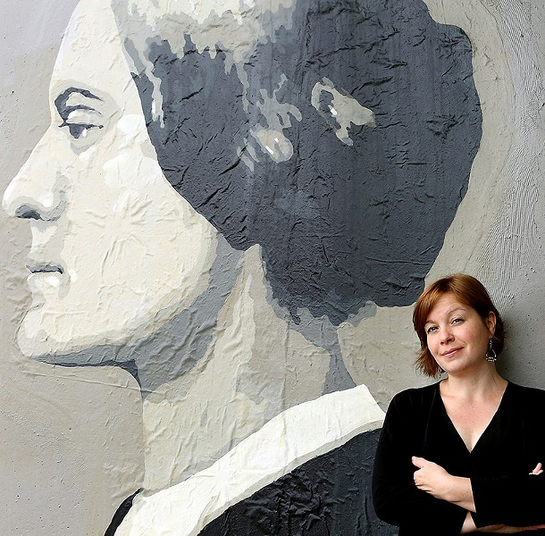 Author Sonja Livingston with Susan B. Anthony. - PHOTO BY GIA LIOI