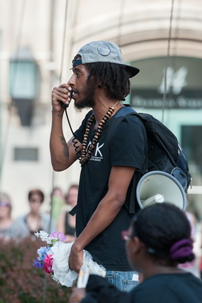 Black Lives Matter rallied well into the early morning hours on Saturday. - PHOTO BY JOSH SAUNDERS