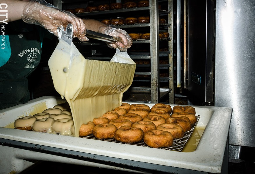 Schutt's Apple Mill in Webster has been making fried cakes for 23 years. - PHOTO BY MARK CHAMBERLIN