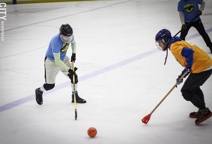 Broomball is like a cross between hockey (minus the skates) and soccer. - PHOTO BY KEVIN FULLER