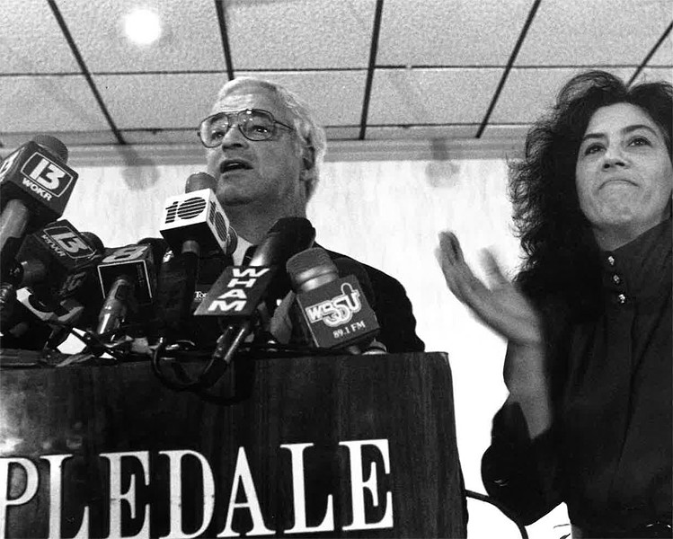 The caption: Frey and then-Democratic Party chair Fran Weisberg at the party celebrating Frey's election in 1986 - FILE PHOTO