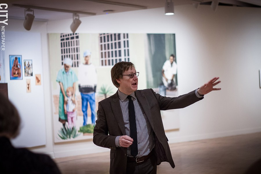 MAG Director Jonathan Binstock discusses Mokgosi's work - PHOTO BY KEVIN FULLER