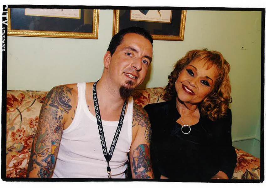 Frank De Blase with Etta James when she played the XRIJF in 2006 - PHOTO COURTESY FRANK DE BLASE