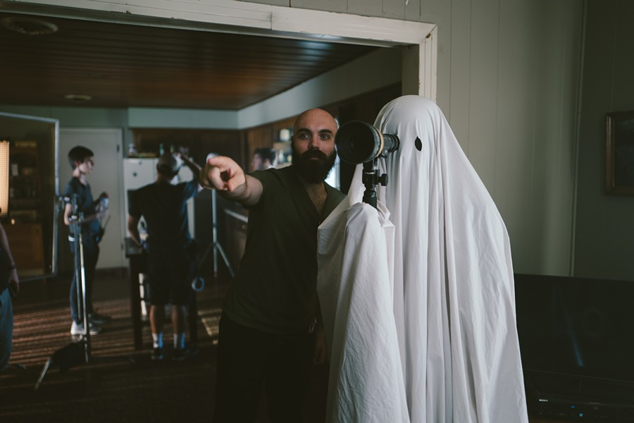"David Lowery on the set of ""A Ghost Story."" - PHOTO BY BRET BURRY, COURTESY OF A24"