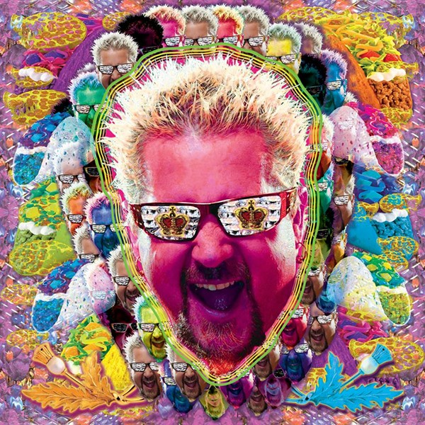 "A digital collage by Storms, featuring ""unrepentant weirdo"" Guy Fieri. - ART BY MARGARET STORMS"