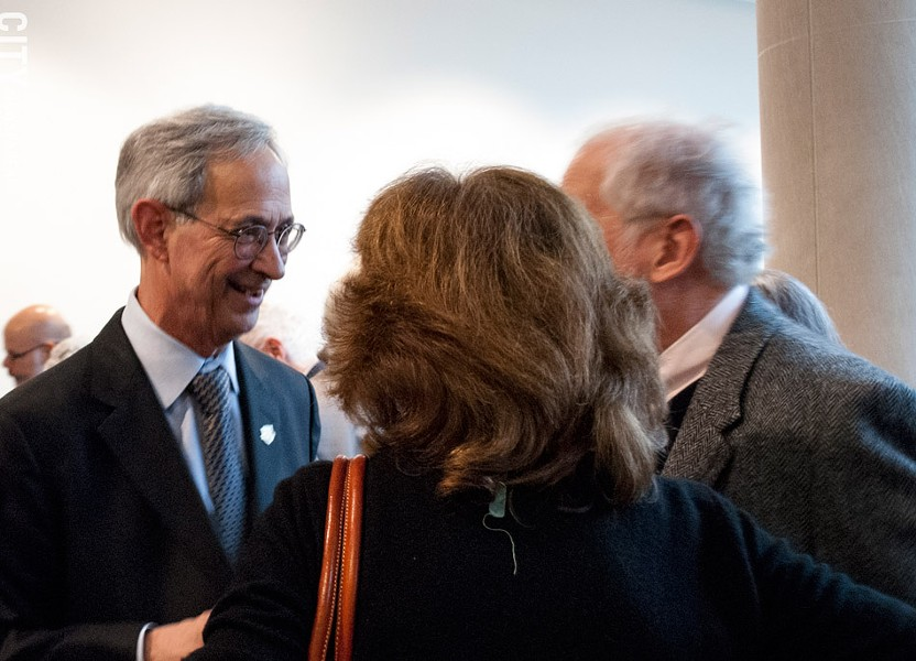UR President Joel Seligman at a reception at the Memorial Art Gallery following his farewell address last week. - PHOTO BY RENÉE HEININGER