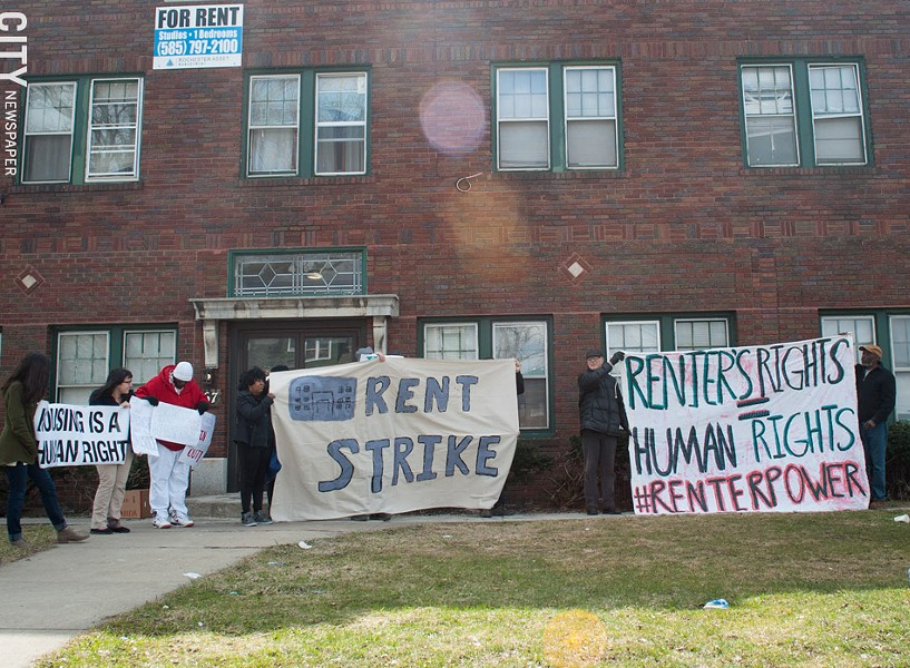 Tenants at 967 Chili Avenue held a rally Monday to protest the poor conditions of their building. - PHOTO BY JAKE CLAPP