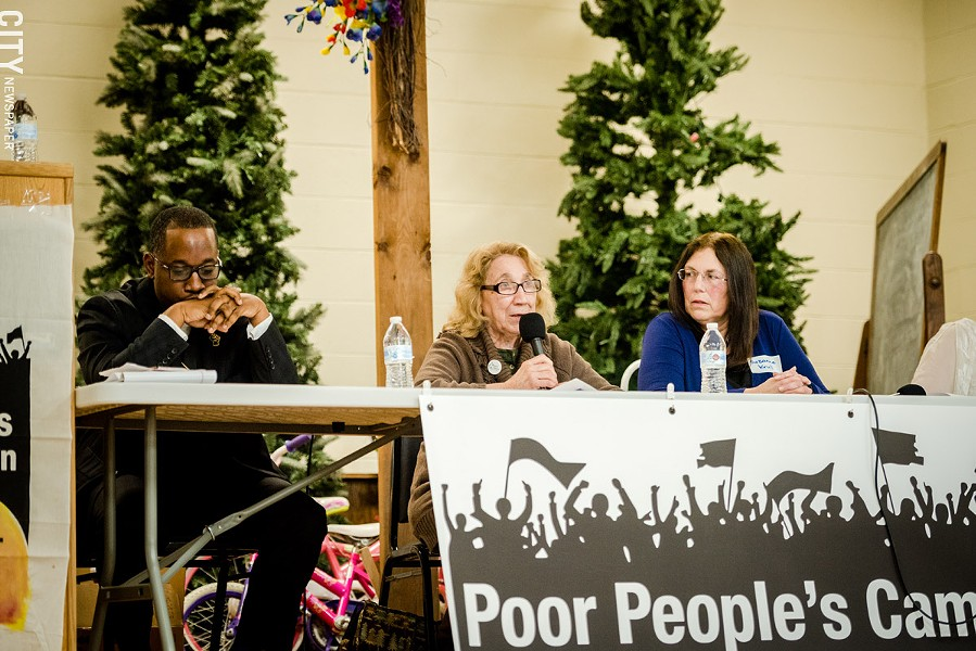 (From left to right) The Reverend James Simmons of Baber AME Church; Sister Grace Miller of House of Mercy; and Suzanne Flierl Krull of the Cuba Cultural Center. - PHOTO BY JOSH SAUNDERS