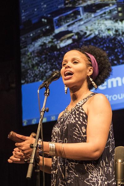 Vocalist Elizabeth Rodriguez of Jane Bunnett & Maqueque. - PHOTO BY ASHLEIGH DESKINS