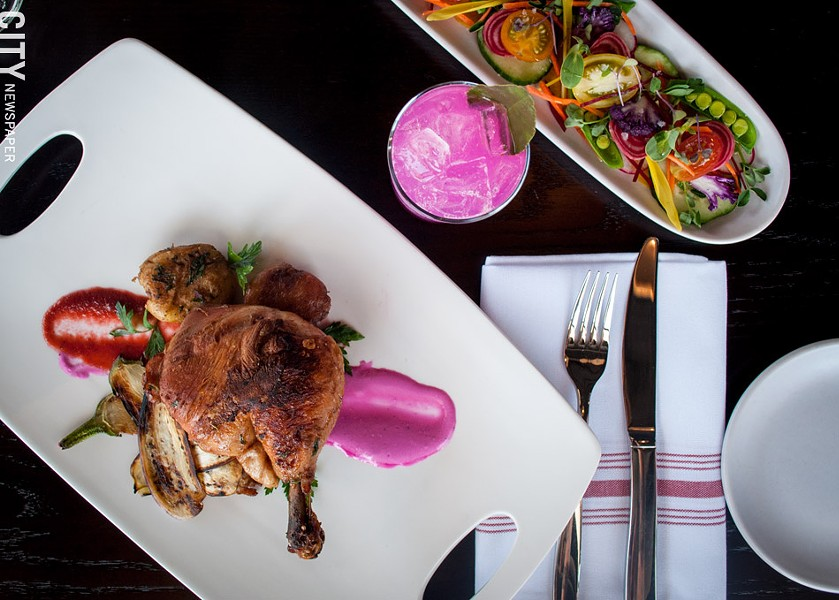 On the menu at Native Bar and Eatery: the Cast Iron Roasted Chicken, served with beet, yogurt, and spiced eggplant. - PHOTO BY RYAN WILLIAMSON