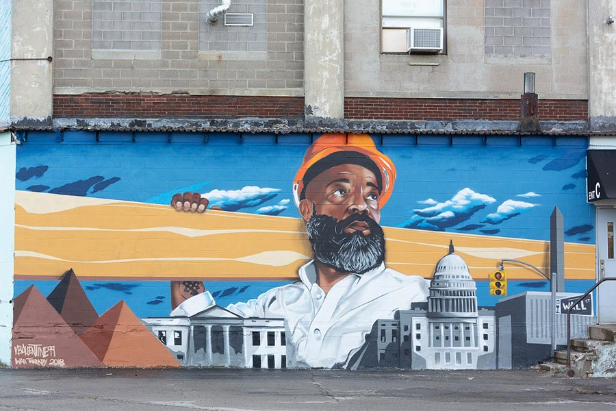 Vincent Ballentine's mural at the Fedder Industrial Building complex. - PHOTO BY TED WONG