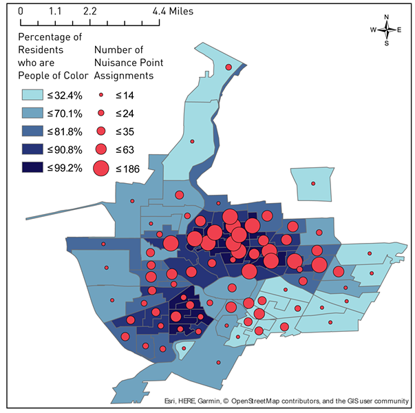 This map of Rochester shows census tracts by percentage of residents that are people of color and the number of nuisance point assignments in those areas. - GRAPHIC PROVIDED BY NYCLU