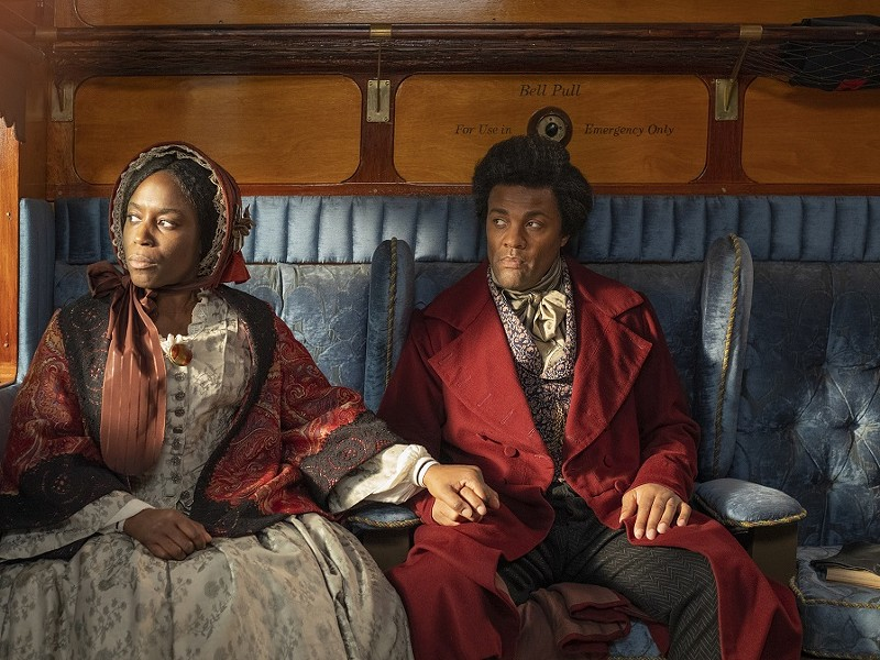 "Sharlene Whyte and Ray Fearon as Anna Murray and Frederick Douglass in Isaac Julien's film installation, ""Lessons of the Hour -- Frederick Douglass."" - PHOTO COURTESY THE ARTIST, METRO PICTURES NEW YORK, AND VICTORIA MIRO LONDON/VENICE"